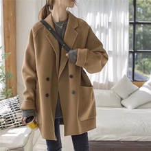 Новое Стильное шерстяное пальто на осень и зиму 2020 женское