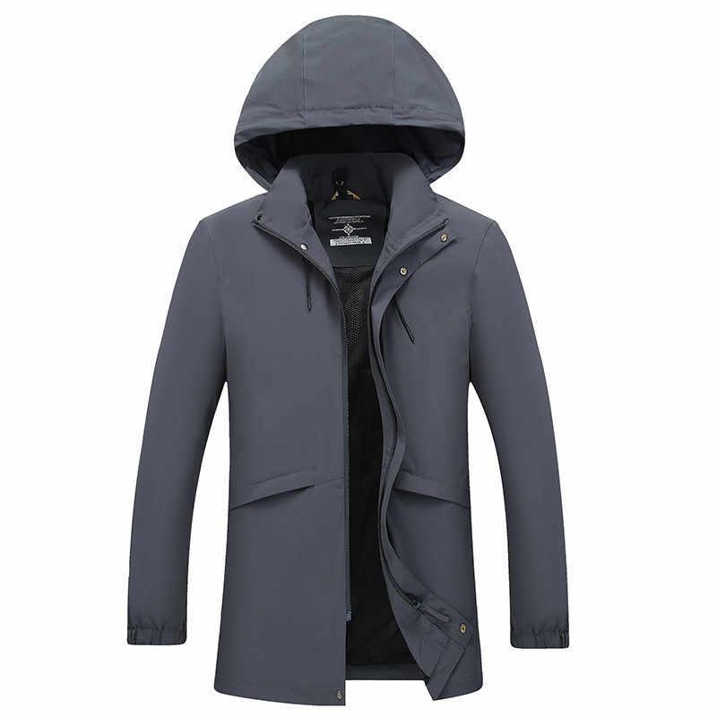 Höchste qualität plus größe 10XL 9XL langen graben mantel männer marke-kleidung lässig kapuze herren mantel qualität windjacke männlichen mantel