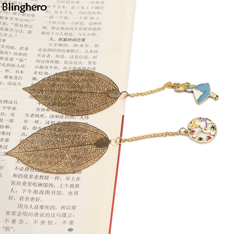 10pcs/set Blinghero Cartoon Alice Metal Bookmarks Leave Pendant Book Marker Of Books Gift Bookmark Clip Gift Stationery BH0492