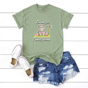 Divertido hipopótamo impreso mujer camiseta verano T camisas gráfico camisetas 100% algodón de manga corta Tops mujer camiseta