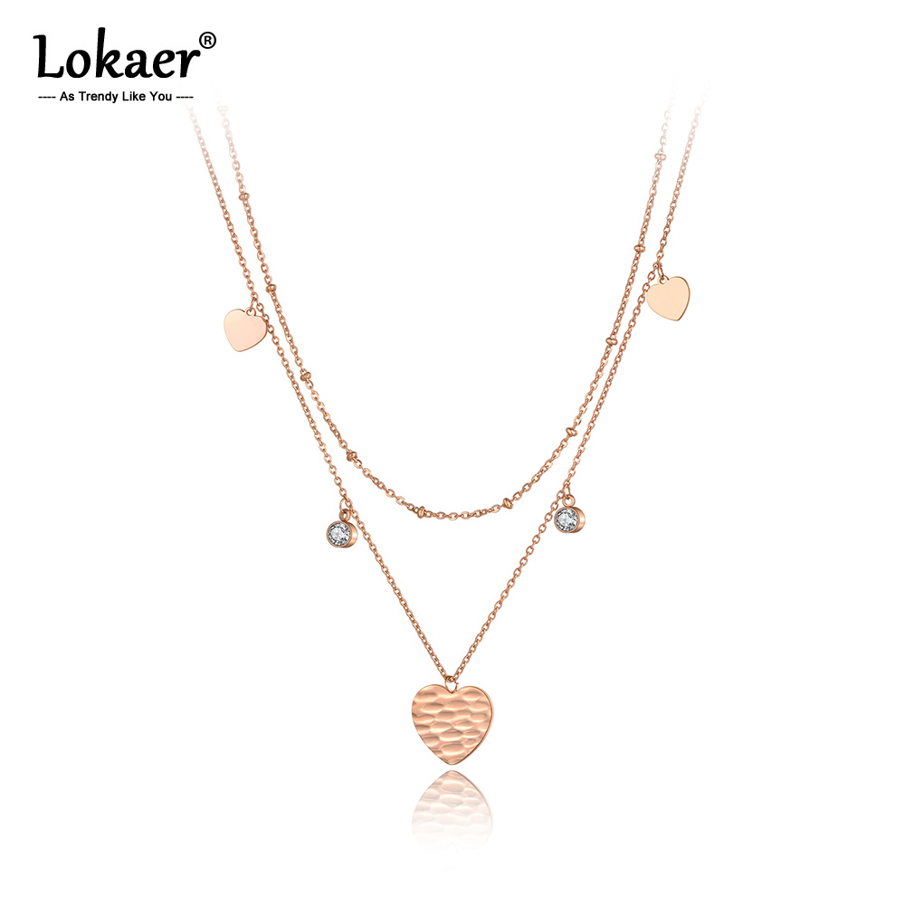 Lokaer Original Fashion Double Layer Heart Pendant Necklace For Women Stainless Steel CZ Crystal Chain Choker Necklace N20142