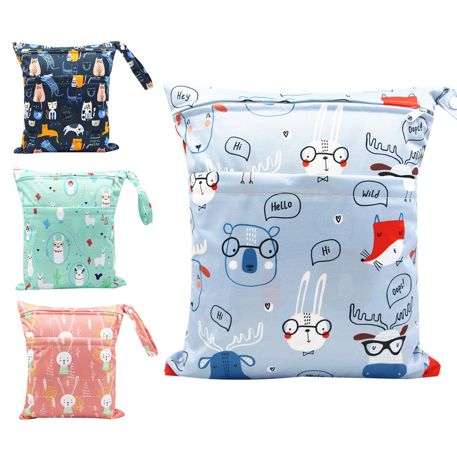 Newborn Convenient Practical Stylish Multi-occasional Portable Waterproof Diaper Bag Double Zipper Cartoon Printing Storage Pouc