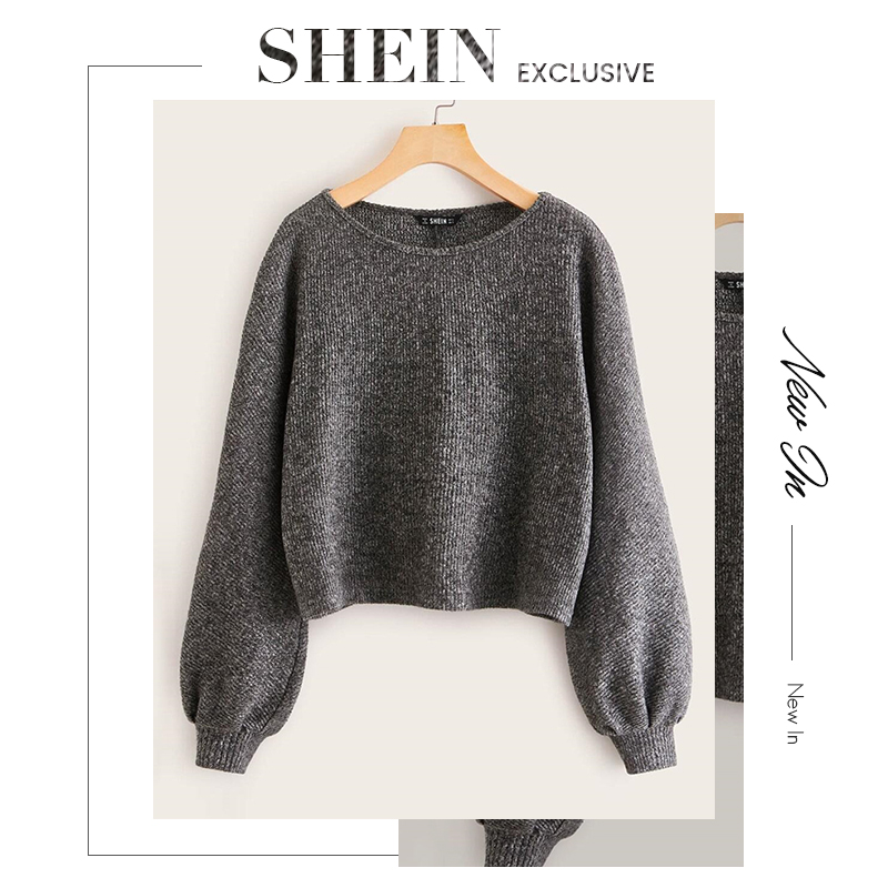 SHEIN Grey Boat Neck Ribbed knit Casual Top Women Autumn High Street Bishop Sleeve Office Ladies Basic T-shirts 5
