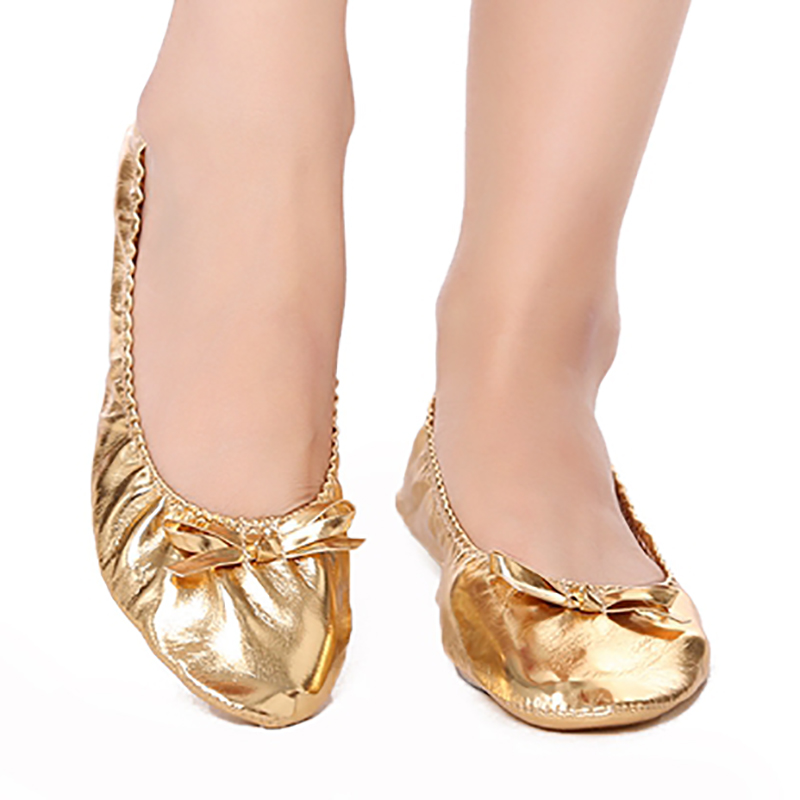 USHINE Feet Care Pads Flat PU Top Gold Soft Indian Woman Belly Dance Shoes Leather Belly Ballet Dance Shoes Children Girls Woman