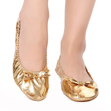 цена на USHINE Feet care pads Flat PU Top Gold Soft Indian woman Belly Dance Shoes Leather Belly Ballet Dance Shoes Children Girls Woman
