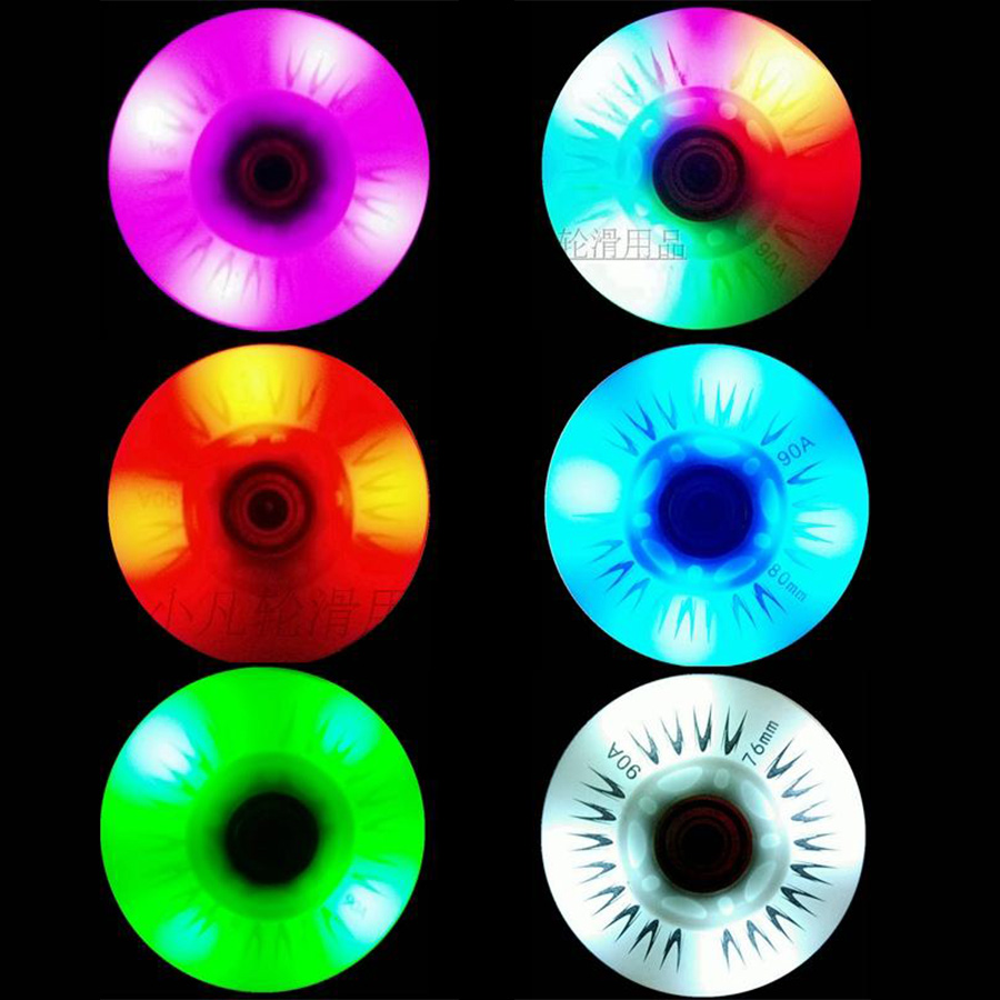 8PCS Flash Inline Skate Wheels 90A LED Lighting Skating Wheels 60 62 64 68 70 72 76 80mm Slalom Sliding Tires For SEBA Patines
