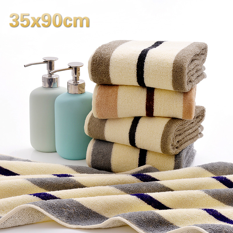 Cotton Creative Striped Men And Women Washcloth Travel Hotel Bathroom Towel Gym Yoga Sweat Beach Sun Bath Long Gift