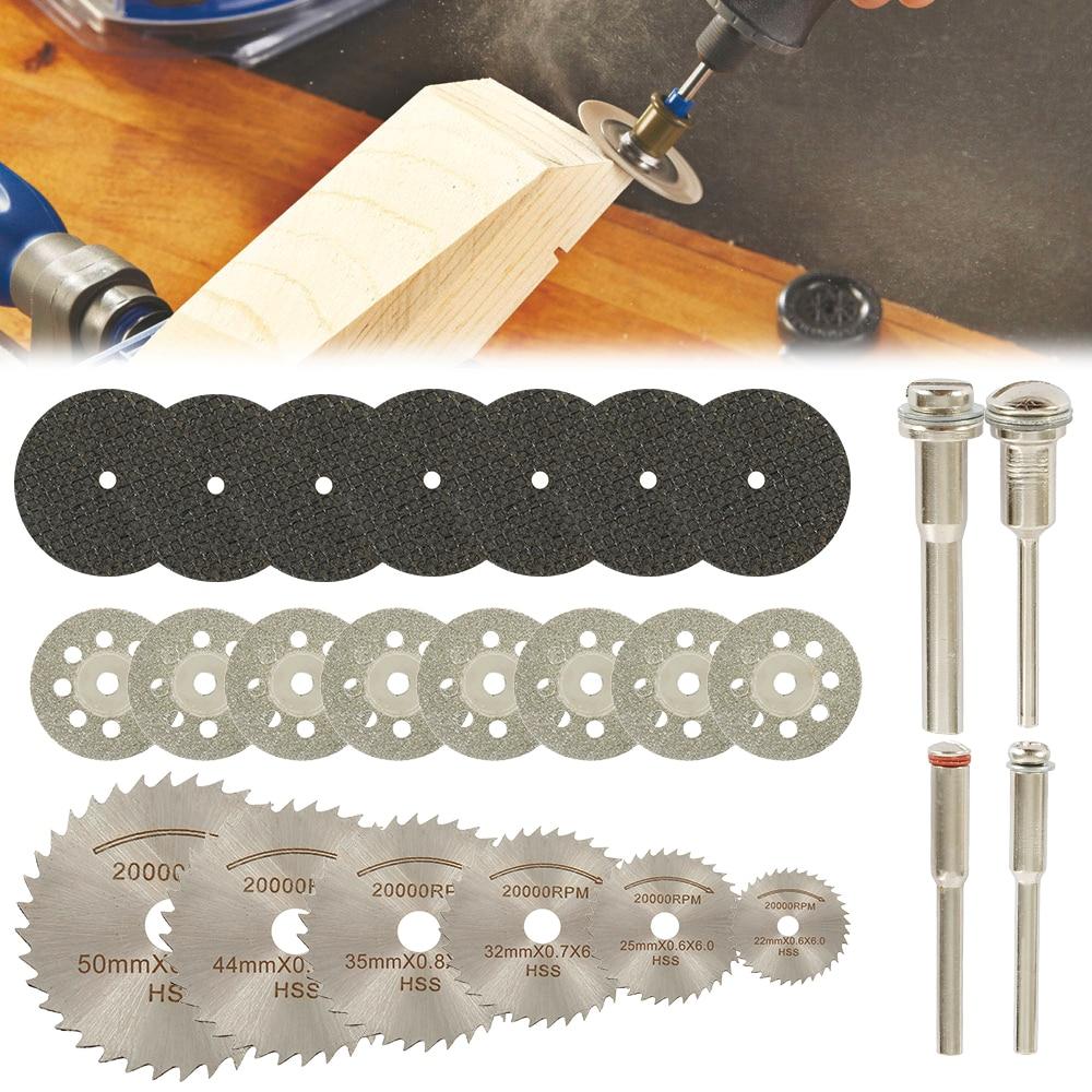 32 pces hss mini circular lâmina de serra conjunto de rodas de corte de resina discos de corte de diamante acessórios de ferramenta rotativa para dremel plástico de madeira