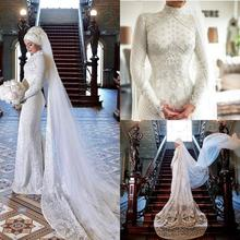 2020 muslimischen Meerjungfrau Hochzeit Kleider mit Schleier Spitze Appliques Perlen roben de mariée Hohe Kragen Vintage Braut Hochzeit Kleider