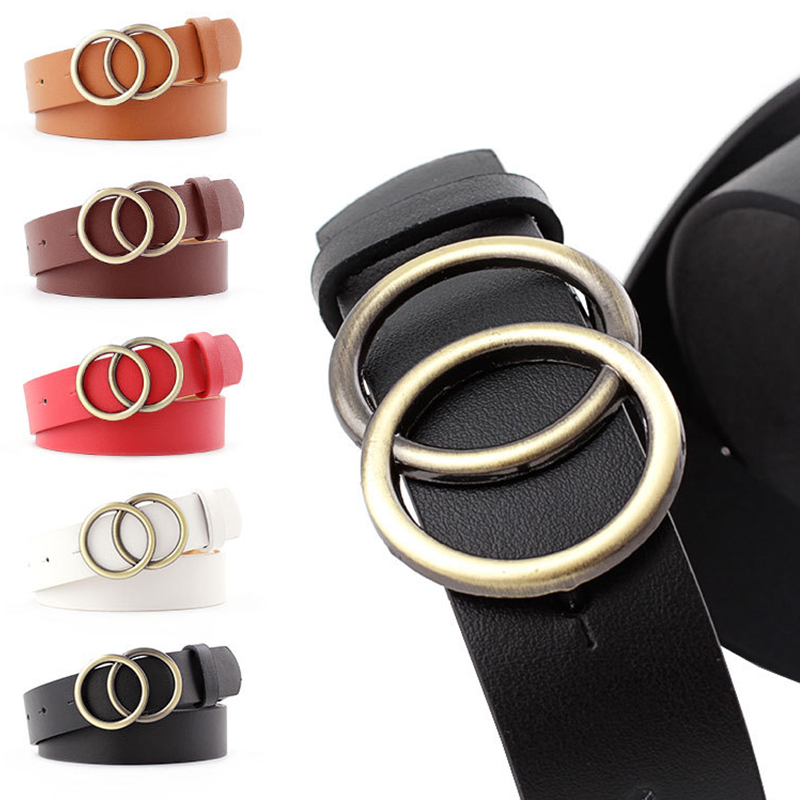 Double Round Buckle Women Belts For Women's Jeans Fashion Gold Buckle Waist Leather Strap High Quality Designer Strap Belt