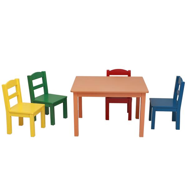 Kids Wood Table & 4 Chairs Set Multi-color Children Furniture Sets Dinner And Study Table Chairs