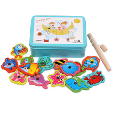 Baby Toys 15pcs Magnetic Fishing Educational Fishing game Puzzle Wooden Toys Table Game for Baby Child Birthday Christmas Gift baby educational toys thick magnetic wooden fishing pole game for kids 9pcs ocean fish fun jigsaw board birthday christmas gift