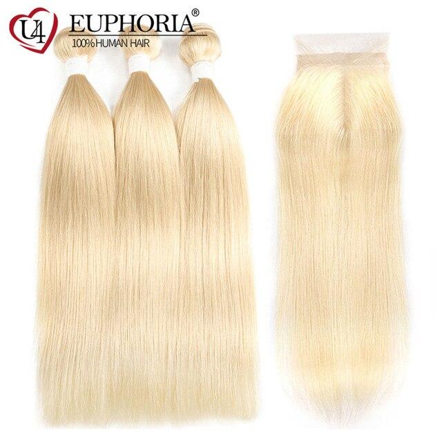 Ombre Platinum Blonde Human Hair Bundles With Lace Closure 3