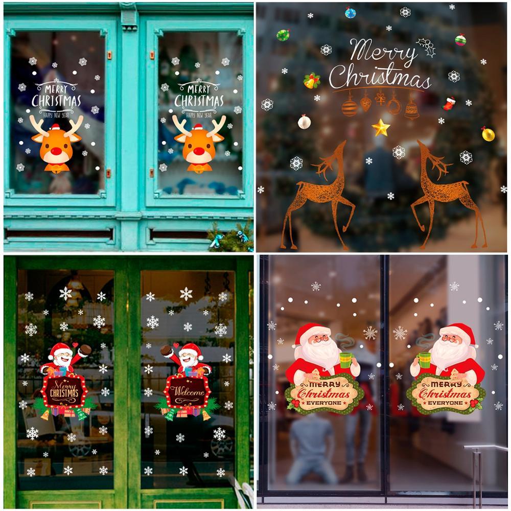 Janela de Adesivos De Parede Da Árvore Do feliz Natal Natal Decoração Para Casa 2019 Presente de Natal 2020 Ano Novo Ornamento Cristmas Noel 2019