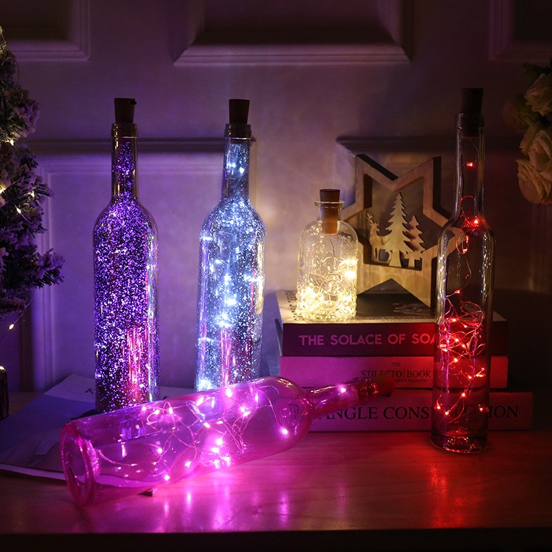 Led Copper Wire Bottle Stopper String Lights 2M 20 Leds Fairy Holiday Wine Art RGB Bottle Cork DIY Decor For Xmas Party Wedding