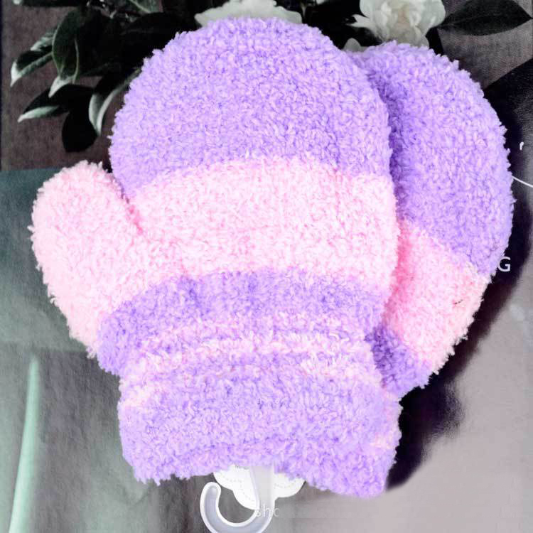 GAOKE Winter Warm Plush Gloves Children Kawaii Coral Fleece Knitted Mittens Girls Soft Colorful Striped Full Finger Gloves