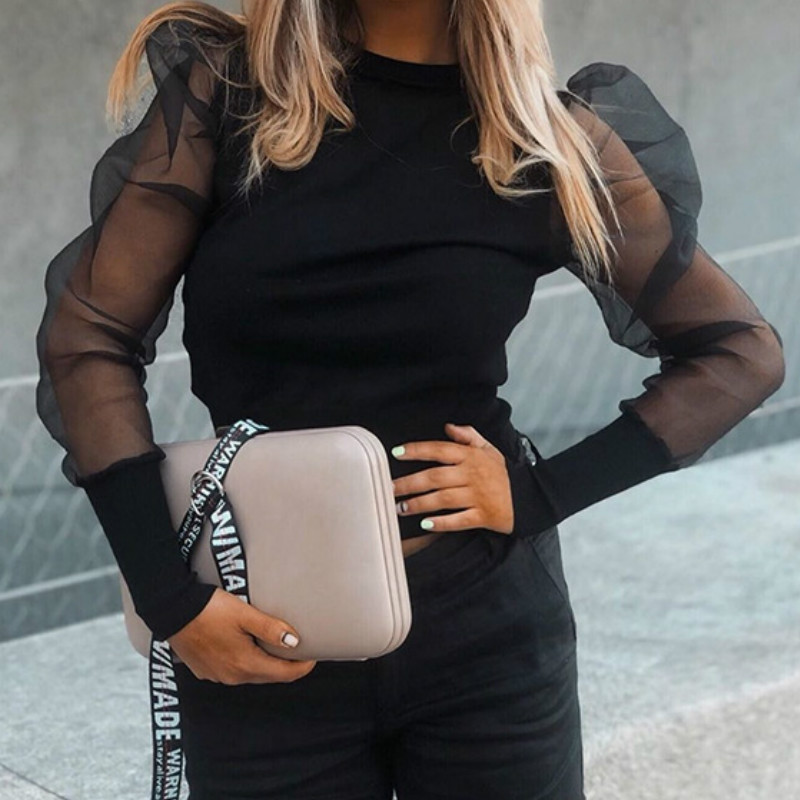 Puff Sleeve Mesh Ribbed Knit Shirts Autumn O Neck Long Sleeve Top Women Black White Blusas Elegant Slim Stretchy Crop Tops GV475