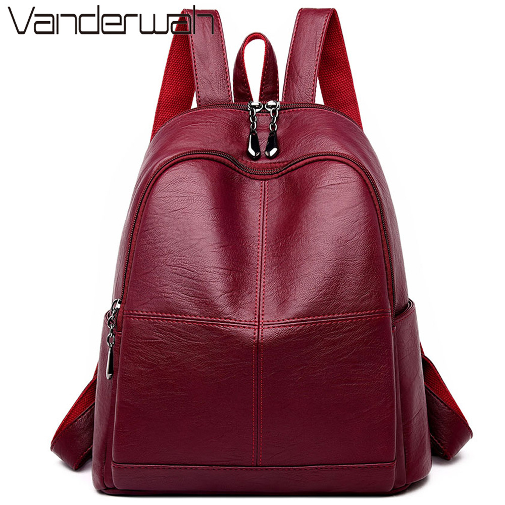 2019 Female Backpack Girls Mochila Feminina Casual Women Leather Backpack Female Shoulder Bag Sac A Dos Femme Travel Back Pack