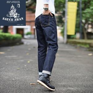 Image 3 - Saucezhan 310xx hs calças de brim masculinas de ajuste fino calças de brim selvedge jeans denim cru indigo jeans masculino frete grátis