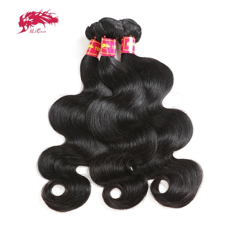 Ali rainha cabelo onda do corpo brasileiro remy cabelo humano tece pacotes de cor natural 10