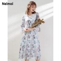 Neimai Autumn Korean Style Women Chiffon Dress Flower V Neck Half Bell Sleeve Elegant Modis Casual Vestido Midi Cute Ropa Mujer