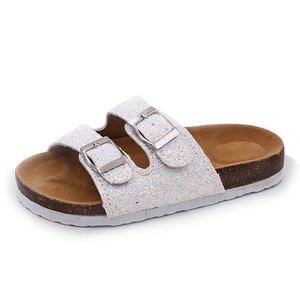 Image 4 - 2019 nowe kapcie dziecięce letnia plaża dzieci korkowe sandały błyszczące cekiny dla rodzinnych butów Leopard boso mieszkania dziewczyny pantofel