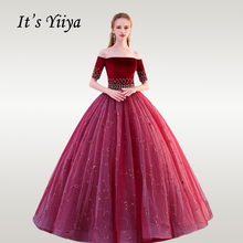 Its YiiYa Wedding Dress Elegant Burgundy Beading Crystal Ball Gowns Boat Neck Plue Size Long Robe De Mariee CH164