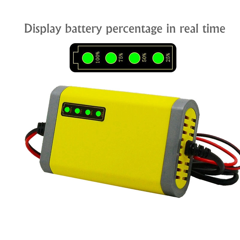 Smart Motorcycle Charger <font><b>12V</b></font> 2A LED Display Power Supply Adapter AGM <font><b>Lead</b></font> <font><b>Acid</b></font> <font><b>Battery</b></font> Charger <font><b>12V</b></font> 2A for 4AH 5AH <font><b>7AH</b></font> 12AH 20AH image