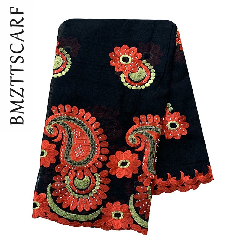 Latest African Women Scarfs Big FLOWER Design Big Embrodiery Cotton Big Scarf For Shaws Pashmina BM938