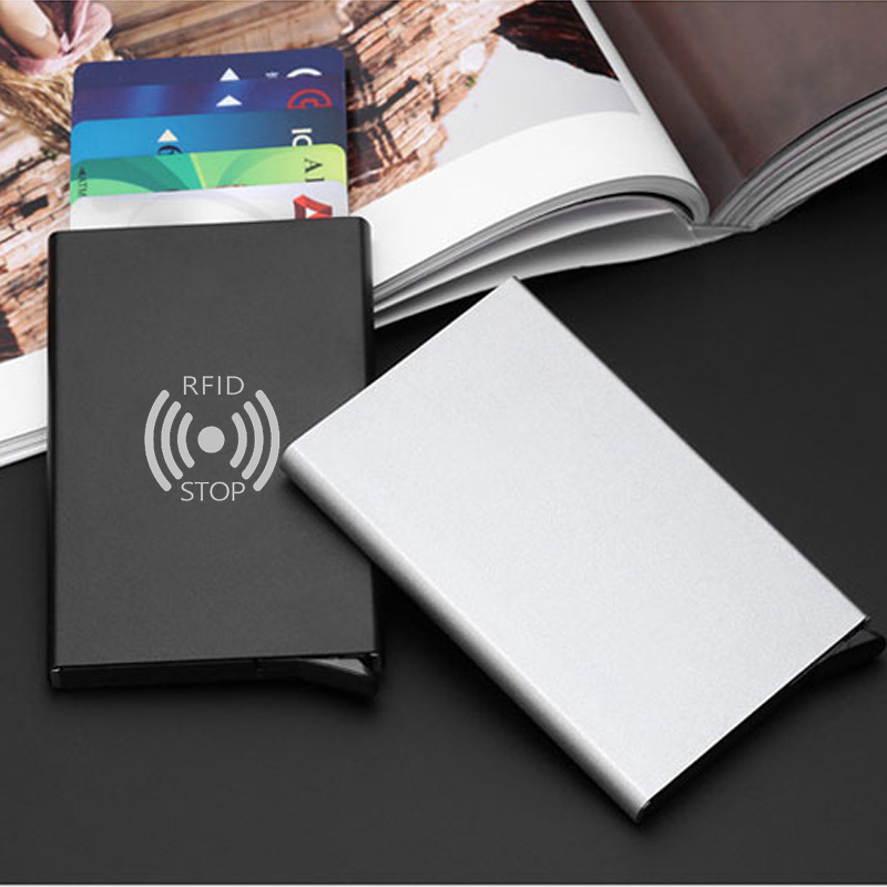 RFID Anti-theft Smart Wallet Bag Metal Women Men Business Card Holder Aluminum Case Women Men Wallet Card Purse