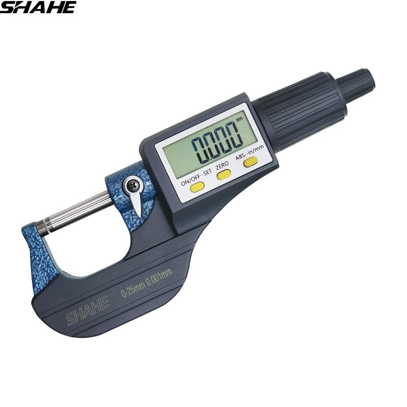 Shahe 0-25/25-50/50-75/100 Mm Micron Digital Outside Micrometer Electronic Micrometer Gauge 0.001 Mm Digital Tools Caliper