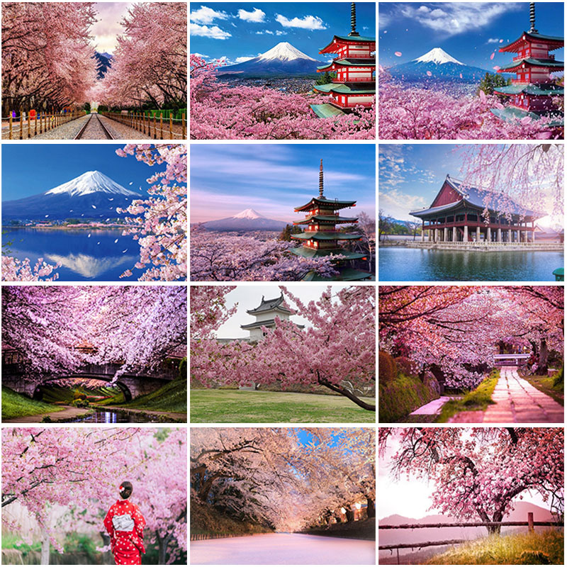 DIY 5D Diamond Painting Full Round Square Resin Mosaic Diamond Embroidery Cross Stitch Kits Art Cherry Blossoms In Full Bloom