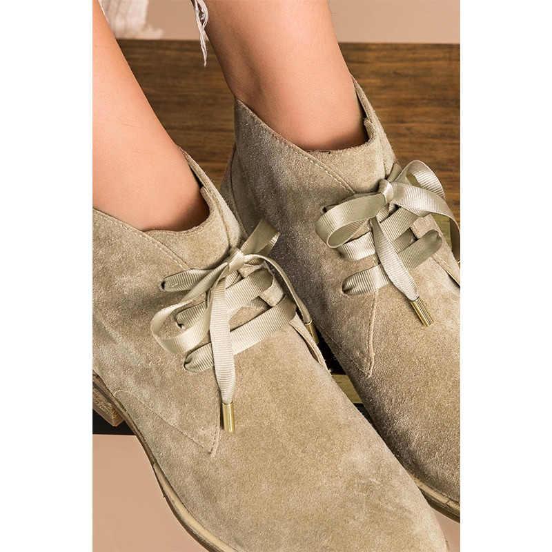 BeauToday süet kadın botları hakiki İnek deri ayak bileği uzunluk Trendy yüksek üstleri kurdele bağı-Up parti düz ayakkabı için kadınlar 03080