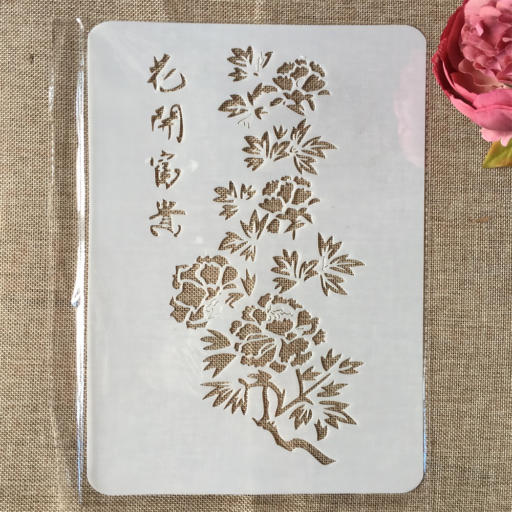 29cm A4 Chinese Blossom And Riches DIY Layering Stencils Wall Painting Scrapbook Coloring Embossing Album Decorative Template