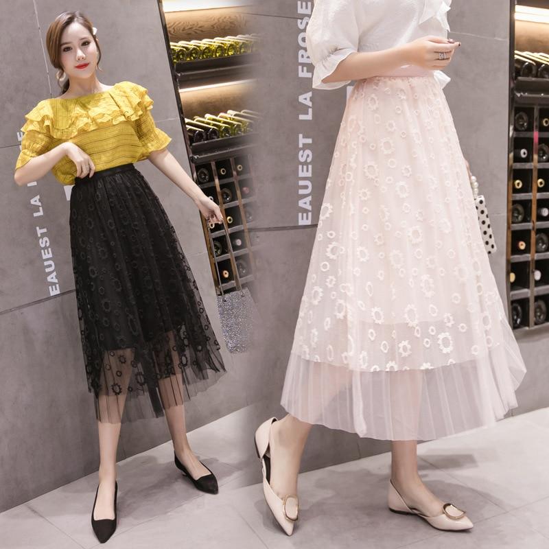 8802 # Photo Shoot 2019 Spring Skirt Women's Big Skirt High-waisted Gauze Skirt Mid-length Mesh Dress Fairy Skirt