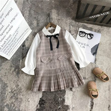 Meninas vestido de inverno roupas de natal da criança dos miúdos do bebê meninas xadrez bowknot casual vestido de princesa roupas infanti