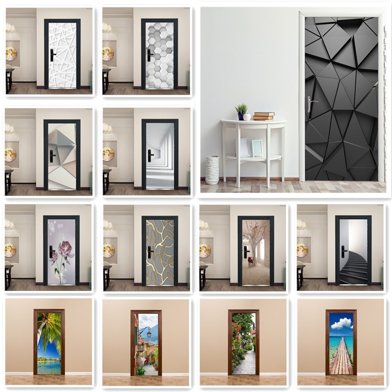 Fashion Modern Life Design Sticker On The Door Living Room Bedroom Theme Cafe Indoor Home Decor Removable Vinyl Door Sticker