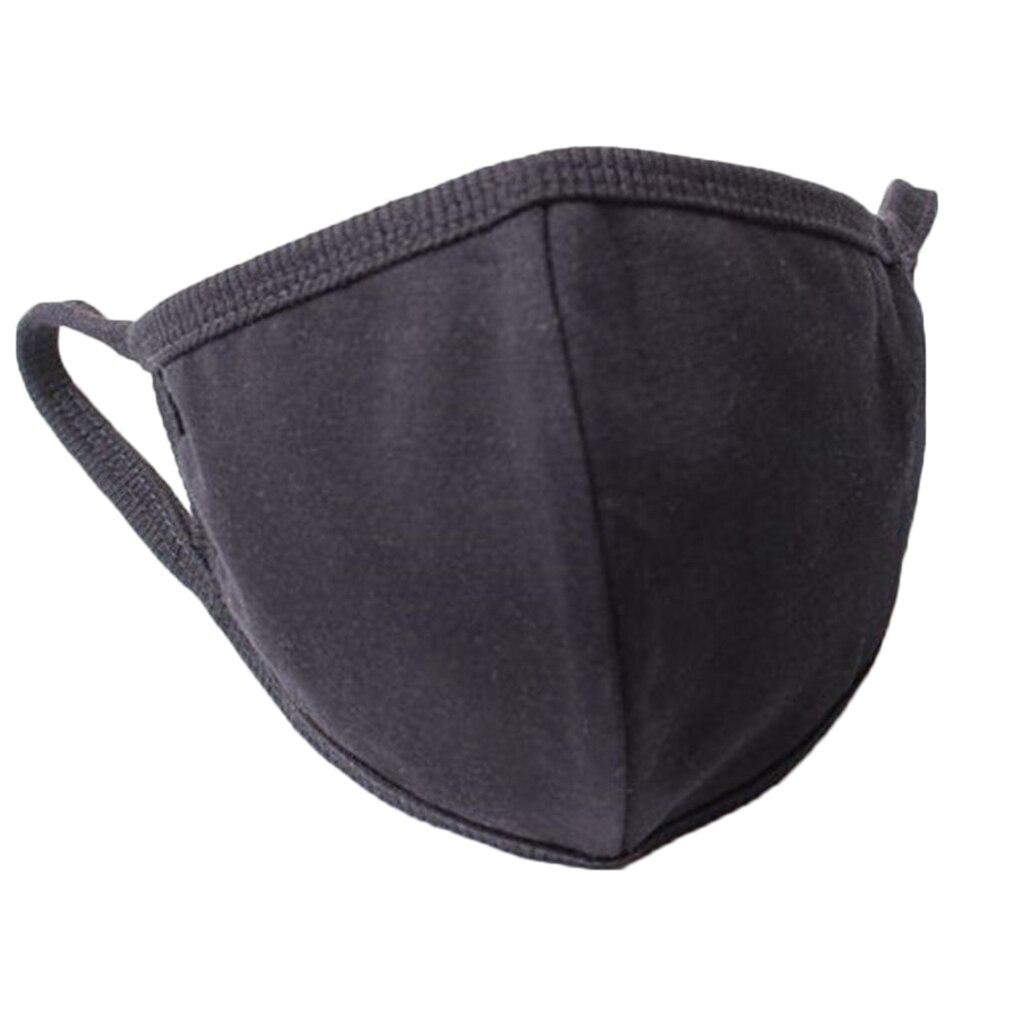 Unisex Dustproof Windproof Mouth Mask Cotton Blend Men Women Breathable Mask Face Cover Black