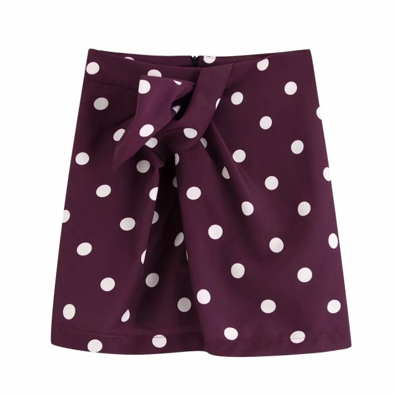 New Women Vintage Polka Dot Printing Knotted Decoration Pencil Skirt Sexy Slim Short Zipper Skirts Business Mini Skirt QUN523