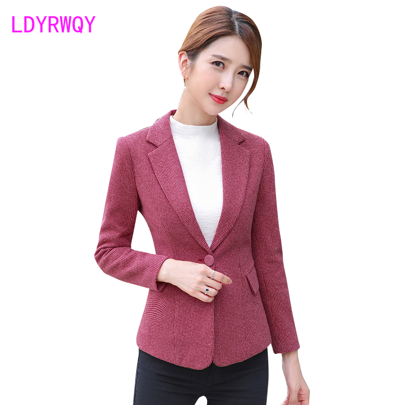 2019 autumn and winter new female Korean version of the self-cultivation long-sleeved woolen casual single piece small suit