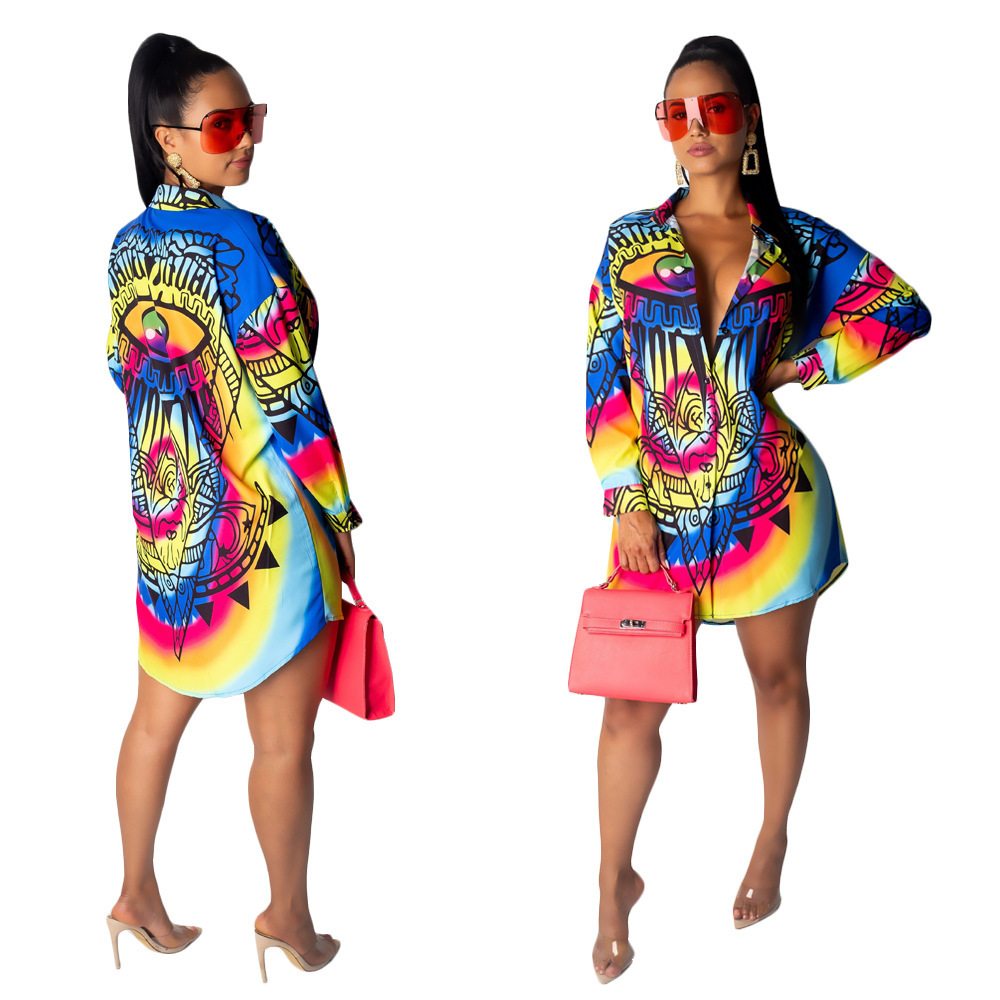 African Clothes Fashion Long Sleeve Print Shirt Dress Single-Breasted Women Summer Vintage Mini Dress Elegant Party Dress Female
