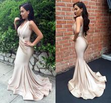 New Light Champagne Mermaid Evening Dresses V Neck Pleats Prom Dresses Sweep Train Zipper Back Formal Party Gowns robe de soriee african silver high neck mermaid prom dresses ruffles rose flower prom gowns robe de bal backless party dresses evening wear for