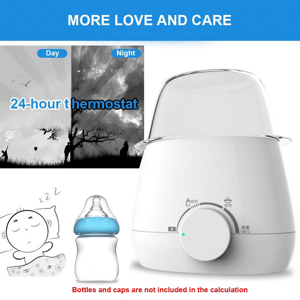 Buy Baby Milk Warmer Durable Multifunctional Double Bottle Portable Heater PP Thermostatic Safe Sterilizer White Fast Universal for only 22.76 USD