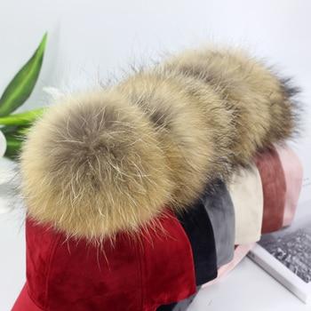 New brand baseball caps 2020 winter cap for women Real fur pompom ball cap Adjustable Casual Snapback hat cap 6