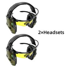 Tactical electronic shooting headphones anti-noise enhanced earmuffs professional glasses glasses earmuffs foldable  FG powerful noise reduction earmuffs study campaign to help sleep comfortable folding portable professional shooting earmuffs