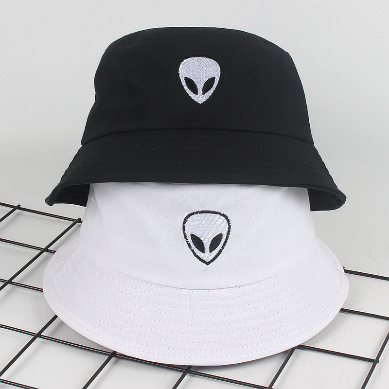 Embroidery Aliens Bucket Hat For Women Men Soild Print Cotton Cool Fishing Hats Sun Summer Sunscreen Fisherman Hip Hop Caps