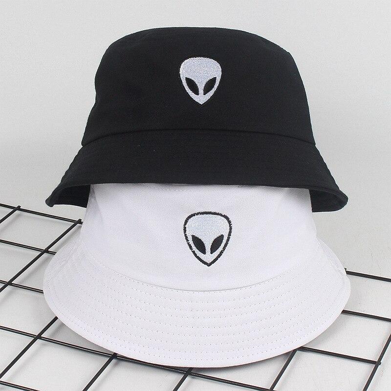 Embroidery Aliens Bucket Hat For Women Men Soild Print Cotton Cool Fishing Hats Sun Summer Sunscreen Fisherman Hip Hop Caps