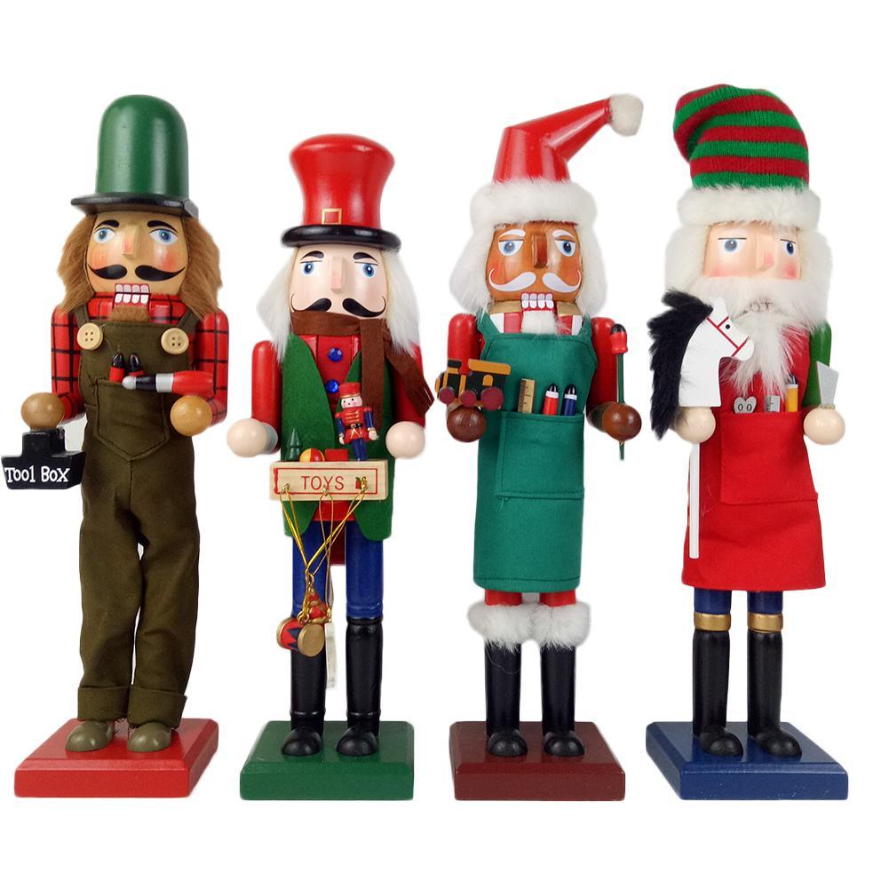 38CM Wooden Nutcracker Puppet Creative Desktop Decoration Christmas Ornaments Drawing Walnuts Businessman Dolls
