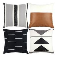 Capa de almofada decorativa apenas para sofá  sofá ou cama conjunto de 4 18x18 Polegada design moderno curto pelúcia preto branco geométrico|Fronha| |  -