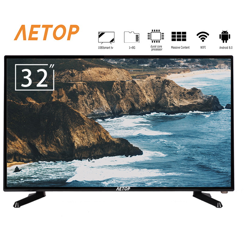 Free shipping -1080P android 8.0 with wifi 32 inch led televisores smart tv with DVB-T2/S2